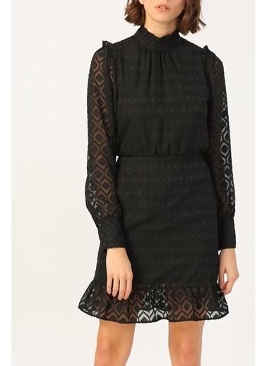 Random Kadın Hakim Yaka Volan Detaylı Siyah Elbise Siyah